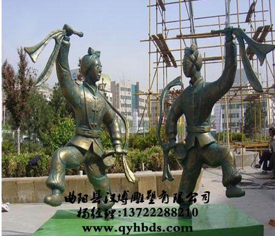 扭秧歌人物雕塑,民俗小品雕塑-ds348